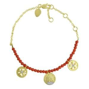 Meira T 14k Yellow Gold Diamond Flower & Coin Charm Beaded Bracelet
