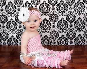 Baby Girl Pale Pink White Lace Leg Warmer Stocking Accessory For