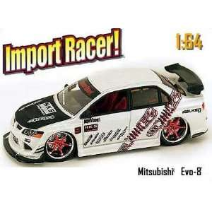 Racer White Mitsubishi EVO 8 164 Scale Die Cast Car Toys & Games
