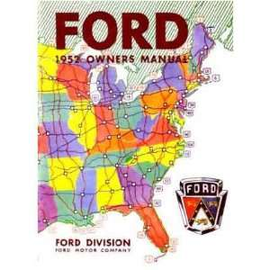 1952 FORD PASSENGER CAR Owners Manual User Guide
