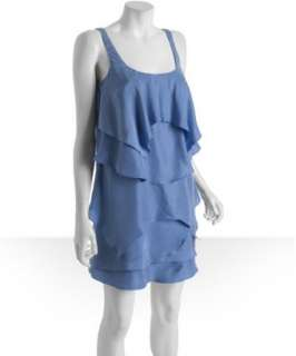 Nicole Miller blue silk Habotai tiered ruffle dress   up to