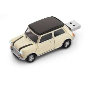 Mini Cooper USB Flash Drive 8GB   White with Bonnet