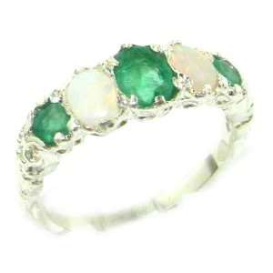 Quality Solid White Gold Natural Emerald & Opal English Victorian Ring