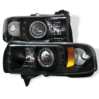 94 01 DODGE RAM HALO LED PROJECTOR HEADLIGHTS   BLACK Automotive