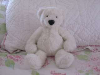 POTTERY BARN KIDS BABY BEAR SOFT TEDDY PLUSH LOVEY GUND WHITE FIRST