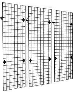 Commercial Grade Metal Grid Panel Wall Display 3 Pack, Black
