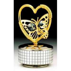 Heart Silver Gold Swarovski Crystal Music Box