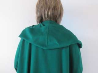 HOURIHAN IRELAND EMERALD GREEN LAMBS WOOL CASHMERE HOODED CAPE COAT~M
