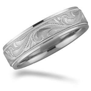 6mm 18kt White Gold Engraved Promise Wedding Band Jewelry