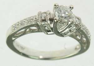LADIES 14K SOLID WHITE GOLD SOLITAIRE DIAMOND ENGAGEMENT RING ESTATE