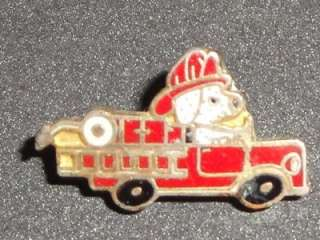Fire Truck Mini Dalmatian Vintage Enamel Pin Badge Hat