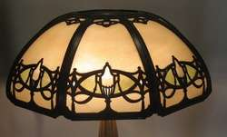 Rare Bradley & Hubbard Holophane Art Deco Lamp Stained Glass c. 1920