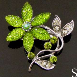 1pc Austrian rhinestone crystal flower brooch pin