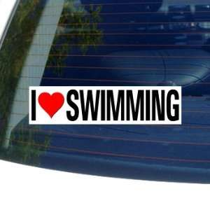 I Love Heart SWIMMING   Window Bumper Sticker Automotive