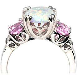 Sterling Silver Created Opal and Pink Cubic Zirconia Ring