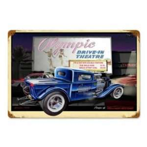 Olympic Drive In Vintage Metal Sign Hot Rod Classic