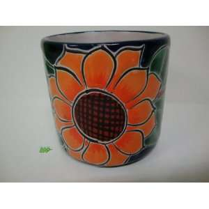 Mexican Talavera Ceramic Pottery Coffee Mug Sunflower Mexico Art Decor