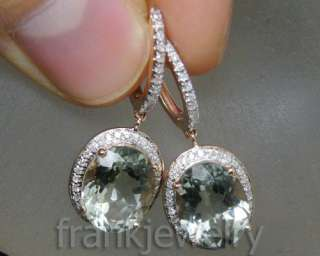 45Ct Solid 14Kt Rose Gold Diamond Oval Green Amethyst Earrings