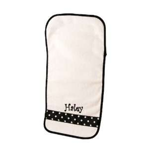 Personalized Baby Burp Cloth with Ribbon Accent   Black/White Polka