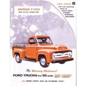 1955 FORD F100 TRUCK Sales Brochure Literature Book