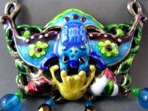 Vtg Enameled/Cloisonne Chinese BAT Motif Art Glass Bead Necklace FAB