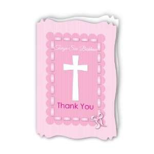 Delicate Pink Cross   Personalized Baptism Thank You Cards