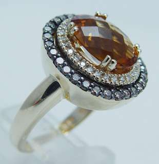 14K Yellow Gold Citrine Diamond Ring Designer Signed Jewelry Le Vian