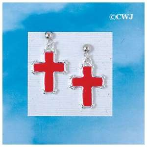 EP   C1404   Red Enamel Cross with Simple Silver Border