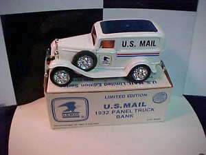 1932 U.S. MAIL FORD PANEL TRUCK 1/25 SCALE ERTL BANK
