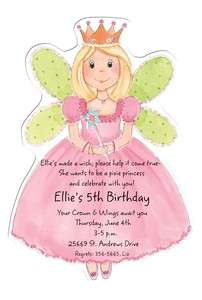 Custom Personalized Die Cut fairy princess Party Invitations fairy