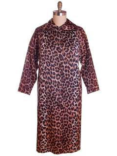 Vintage Leopard Print Swing Coat 1950S Acetate One Size