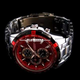 New luxury red dial ANALOG SPORT QUARTZ men Stainless Steel wrist
