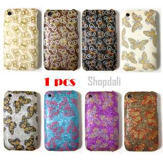 Glitter Butterfly Pattern Hard iPhone Case Cover 3G 3Gs