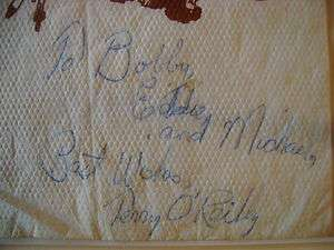 TERRY OREILLY SIGNED AUTOGRAPH AUTO NAPKIN BOSTON BRUINS