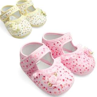 Cute Yellow&Pink Mary Jane infant toddler baby girl shoe size 1 2 3 0