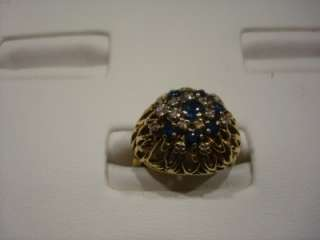 HEIRLOOM 14 KARAT YELLOW GOLD SAPPHIRE & DIAMOND COCKTAIL RING SIZE 5
