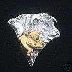 Staffordshire Bull Terrier Pin Jewelry HEAD STUDY WITH BULL sterling