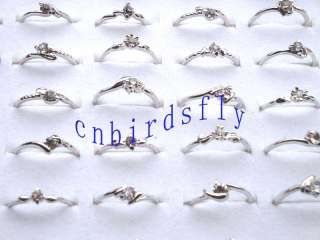 Wholesale jewelry lots mixed 100pcs white CZ crystal silver tone rings