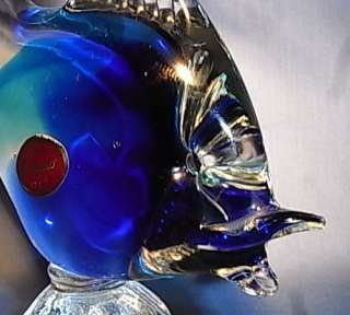 GL#11 * BEAUTIFUL MURANO GLASS BLUE FISH VINTAGE ITALY