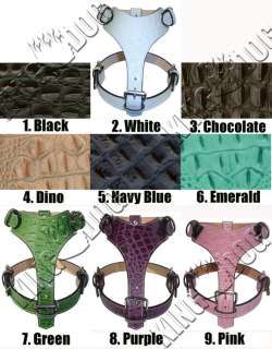 Crocodile Leather Dog Harness Plain Pitbull Choose From 9 Colors