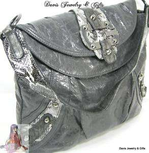Guess G Logo Purse Large Tote Shoulder Hand Bag Grey/Gray Snake Brady