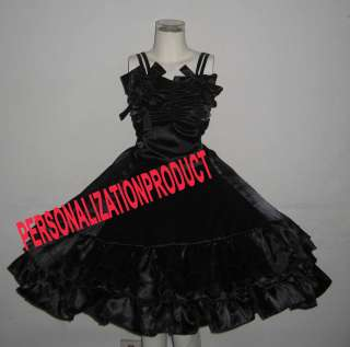 Victorian Gothic Lolita Black Satin Ball Gown Knee Length Cosplay
