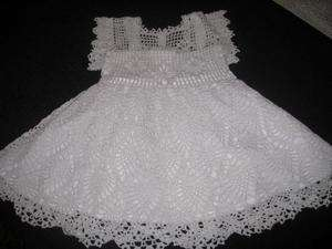 CROCHETED PINEAPPLE BABY GIRL HEIRLOOM CHRISTENING DRESS LINER 6 9 MO