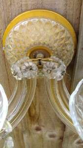 OF ART DECO GILT & CUT GLASS TWIN LIGHT WALL SCONCES (C1930)