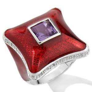 Chi by Falchi 1.36ct Amethyst and Diamond Red Enamel Ring