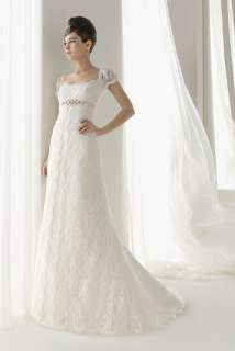 2012 New Custom made Lace Overlay Wedding Dress Bridal Gown Sleeves