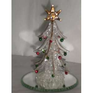 Glass Christmas Tree Figurine, 24 Karat Gold Plated