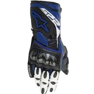 Mens Leather Street Bike Racing Motorcycle Gloves   Blue / 2X Large