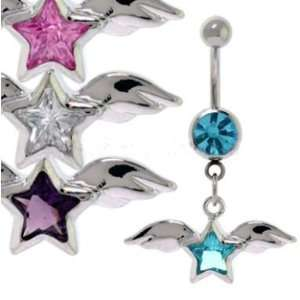 316L Surgical Steel Amethyst Star Wings Belly Ring   14g 7
