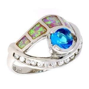 Sterling Silver, Synthetic Pink Opal Ring, w/ Brilliant Cut Blue Topaz